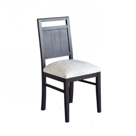 Beyaz Kumaşlı Siyah Boyalı Ağaç Sandalye - rsa56
