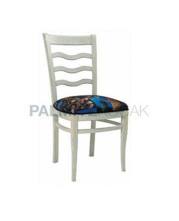 Beyaz Lake Boyalı Desenli Kumaş Kaplı Salon Sandalyesi