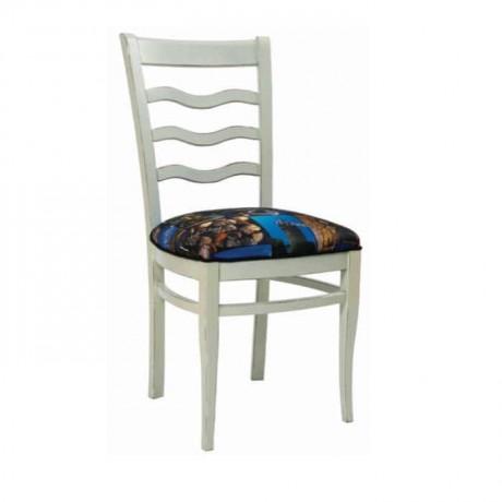 Beyaz Lake Boyalı Desenli Kumaş Kaplı Salon Sandalyesi - rsa63