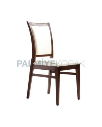 Beyaz Nubuk Kumaş Döşemeli Koyu Eskitme Restaurant Sandalyesi