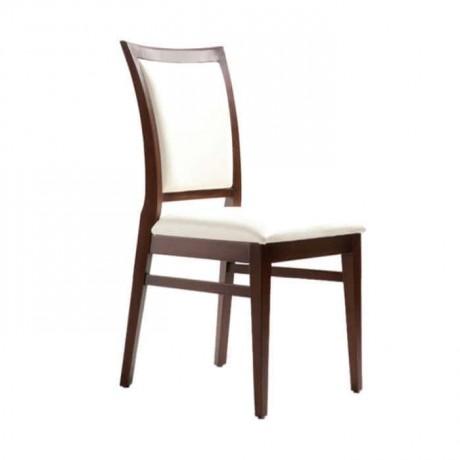 Beyaz Nubuk Kumaş Döşemeli Koyu Eskitme Restaurant Sandalyesi - rsa85