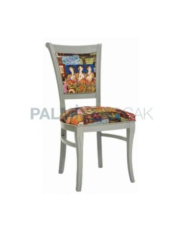 Beyaz Silme Boyalı Desenli Kumaşlı Rustik Sandalye