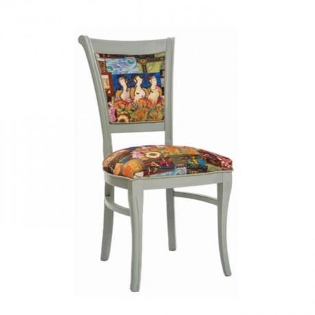 Beyaz Silme Boyalı Desenli Kumaşlı Rustik Sandalye - rsa46