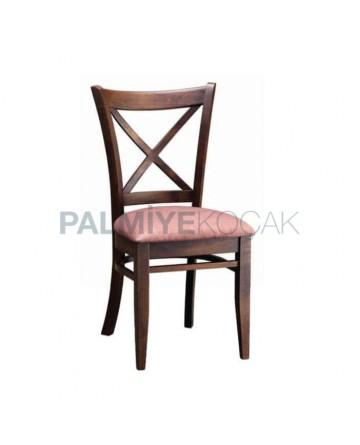 Çapraz Çıtalı Eskitme Boyalı Restoran Cafe Sandalyesi