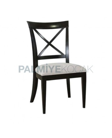 Rustic Chair with Cross-Stick Black Lacquered Painted