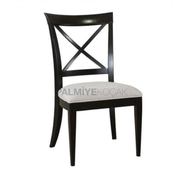 Çapraz Çıtalı Siyah Lake Boyalı Rustik Sandalye