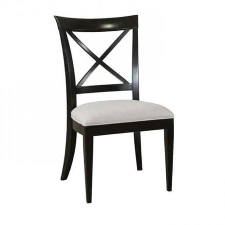 Çapraz Çıtalı Siyah Lake Boyalı Rustik Sandalye - rsa29