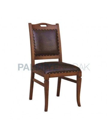 Deri Kaplı Eskitme Ahşap Rustik Yemek Masası Sandalyesi