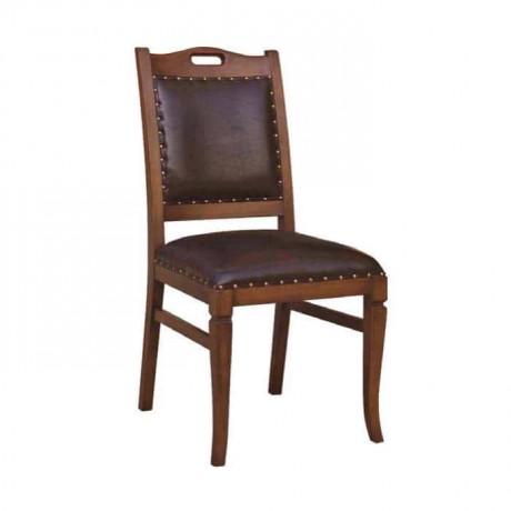 Deri Kaplı Eskitme Ahşap Rustik Yemek Masası Sandalyesi - rsa41