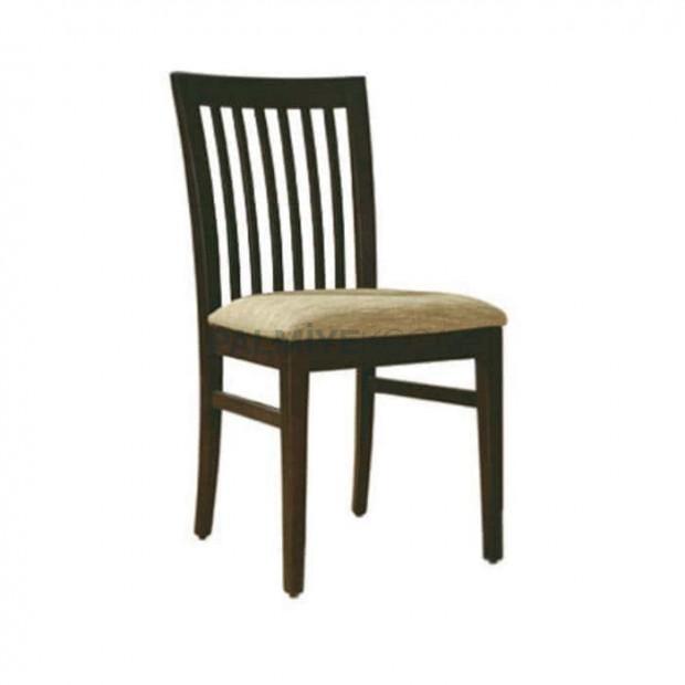 Dik Çıtalı Koyu Eskitme Rustik Sandalye