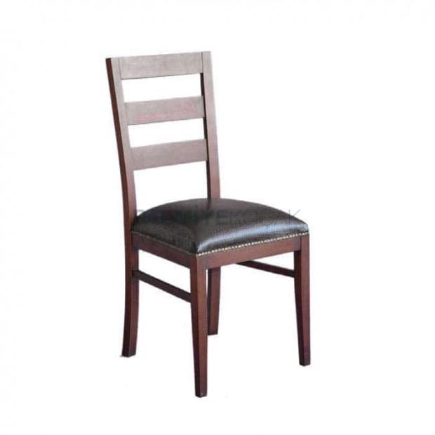 Eskitme Siyah Deri Döşemeli Rustik Sandalye