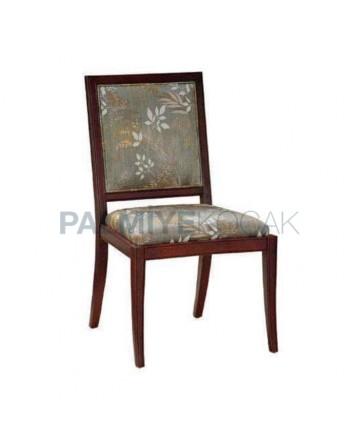 Gri Kumaşlı Çiçek Desenli Ahşap Rustik Sandalye