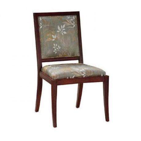 Gri Kumaşlı Çiçek Desenli Ahşap Rustik Sandalye - rsa51