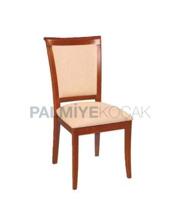 İpek Mat Boyalı Krem Sonil Kumaşlı Rustik Sandalyesi