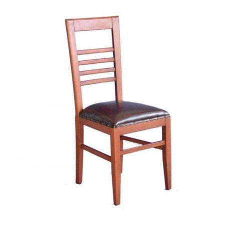 Kabaralı Deri Döşemeli Açık Ahşap Renkli Rustik Sandalye - rsa44