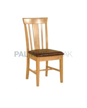 Kahve Deri Kaplı Açık Meşe Renkli Rustik Sandalye