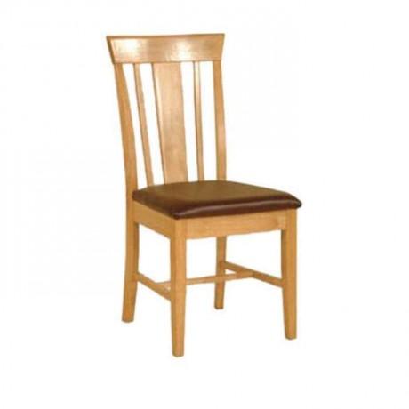 Kahve Deri Kaplı Açık Meşe Renkli Rustik Sandalye - rsa67