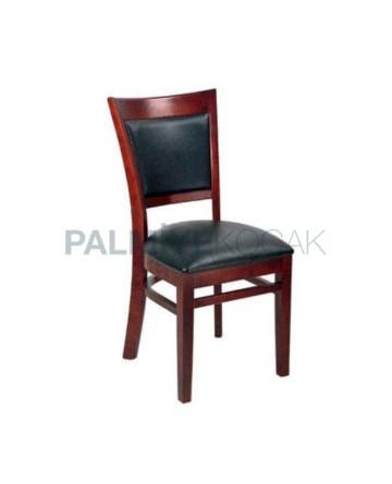 Kızıl Eskitme Boyalı Siyah Deri Kaplı Cafe Restoran Otel Sandalyesi