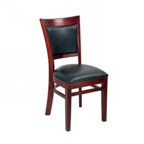 Kızıl Eskitme Boyalı Siyah Deri Kaplı Cafe Restoran Otel Sandalyesi - rsa50