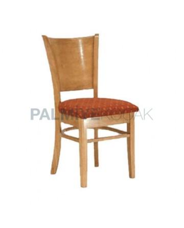 Kontralı Desenli Bordo Kumaşlı Cilalı Rustik Sandalye