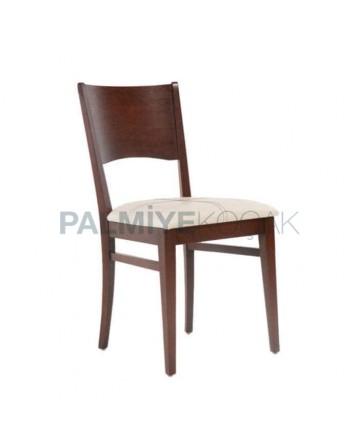 Koyu Ceviz Cilalı Krem Koton Kumaşlı Rustik Sandalye