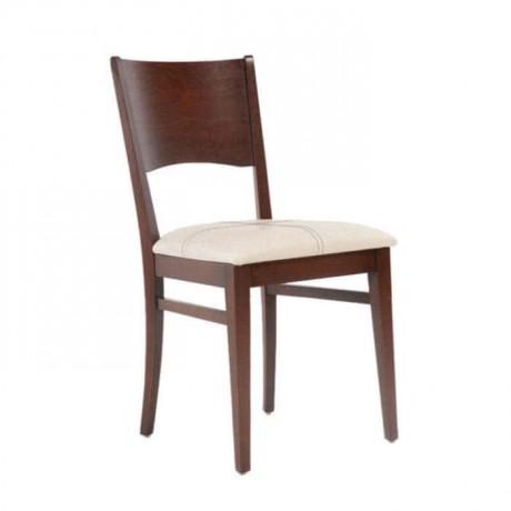 Koyu Ceviz Cilalı Krem Koton Kumaşlı Rustik Sandalye - rsa84