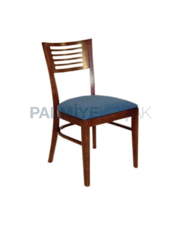 Koyu Ceviz Cilalı Mavi Minderli Otel Restoranı Sandalyesi