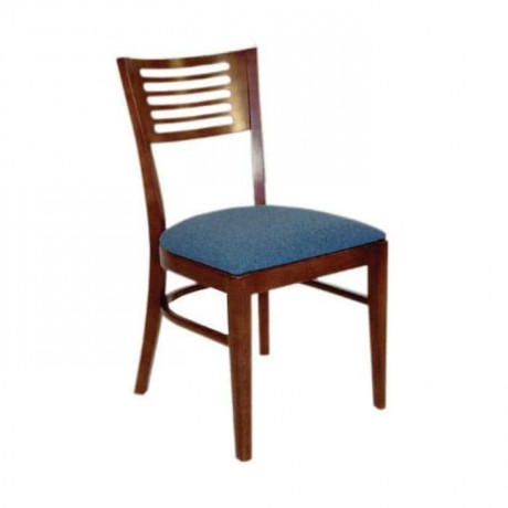 Koyu Ceviz Cilalı Mavi Minderli Otel Restoranı Sandalyesi - rsa62