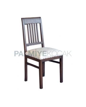 Koyu Eskitme Krem Deri Kabaralı Döşemeli Rustik Sandalye