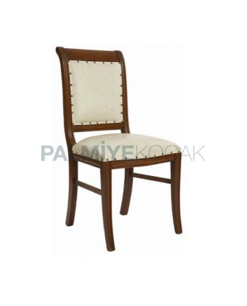 Cream Leather Upholstered Antique Chair