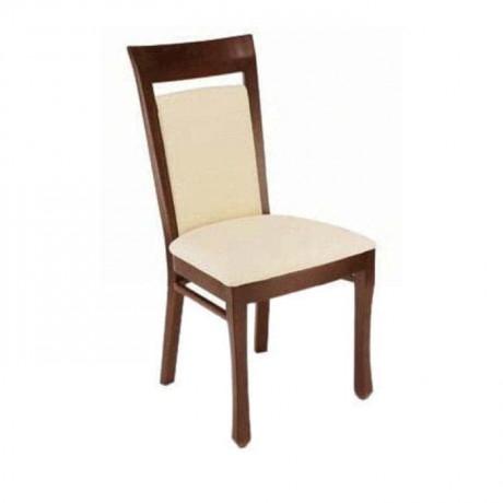 Krem Deri Döşemeli Koyu Ahşap Boyalı Rustik Sandalye - rsa73