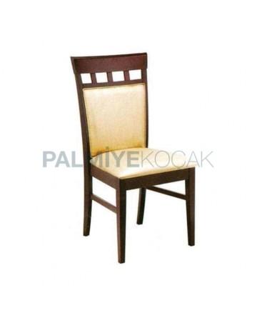 Krem Derili Koyu Eskitme Kayın Sandalye