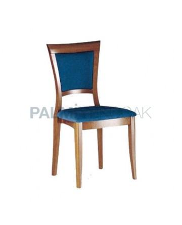 Mavi Kadife Kumaş Döşemeli Rustik Sandalye