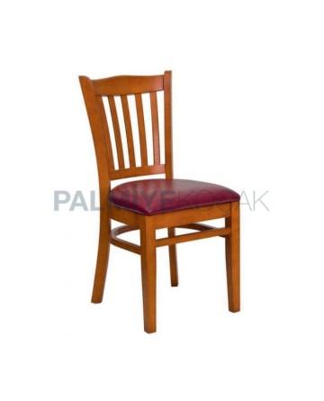 Meşe Boyalı Bordo Deri Döşemeli Hotel Sandalyesi
