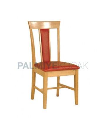 Meşe Renkli Cilalı Kırmızı Deri Kaplı Restaurant Ev Cafe Sandalyesi