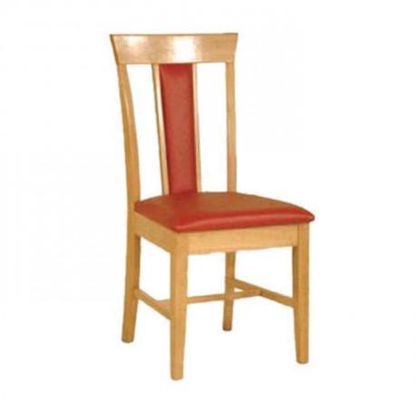 Meşe Renkli Cilalı Kırmızı Deri Kaplı Restaurant Ev Cafe Sandalyesi - rsa66