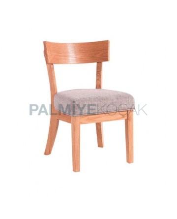 Natural Boyalı Gri Kumaş Döşemeli Restoran Sandalyesi
