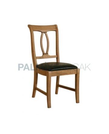 Natural Boyalı Siyah Orijinal Deri Kaplı Sandalye