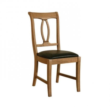 Natural Boyalı Siyah Orijinal Deri Kaplı Sandalye - rsa89
