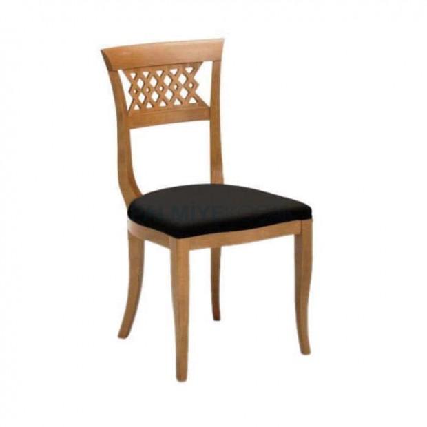 Oymalı Natural Renkli Ahşap Rustik Sandalye