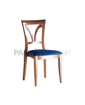 Rustic Chair with Bright Antique Painted Blue Upholstered