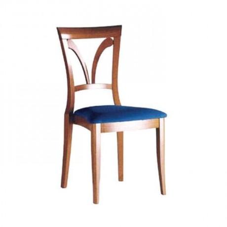 Parlak Eskitme Boyalı Mavi Döşemeli Rustik Sandalye - rsa32
