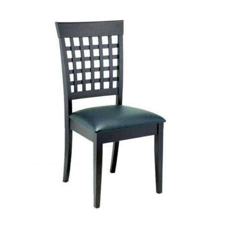 Sırtı Çıtalı Siyah Boyalı Siyah Döşemeli Sandalye - rsa71