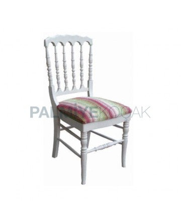 Tornalı Beyaz Lake Boyalı Ahşap Sandalye