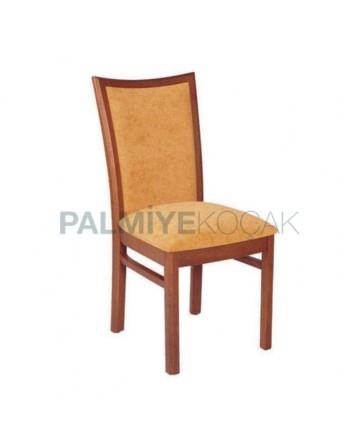 Orange Upholstered Wooden Restaurant Chair