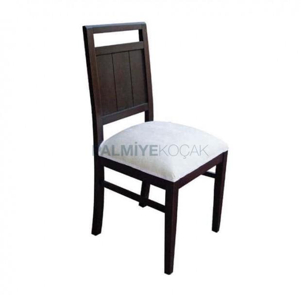 Venge Boyalı Beyaz Kumaşlı Rustik Sandalye