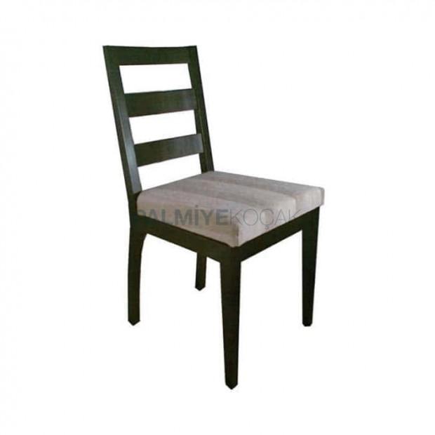 Venge Boyalı Çizgili Kumaşlı Restoran Sandalyesi