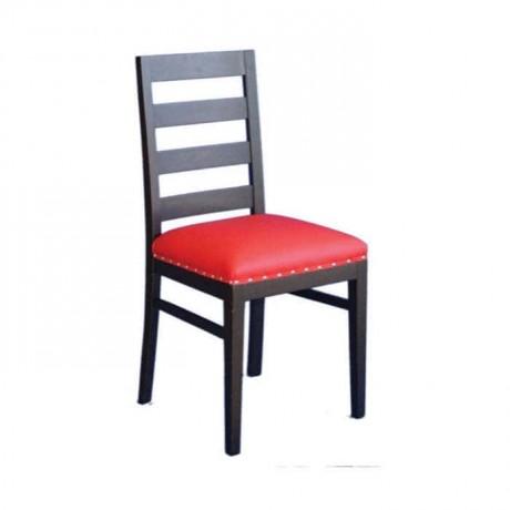Venge Boyalı Kırmızı Derili Restaurant Sandalyesi - rsa06