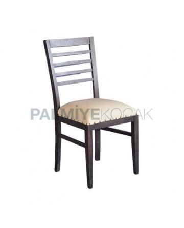 Venge Cilalı Krem Döşemeli Ahşap Rustik Sandalye