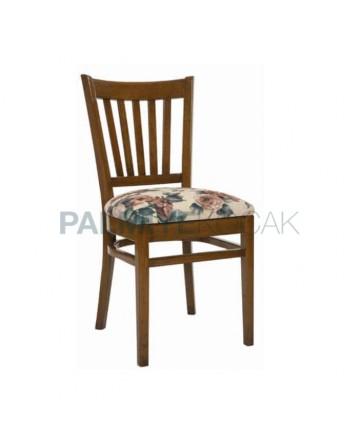 Yatay Çıtalı Çiçek Desenli Beyaz Kumaşlı Ahşap Sandalye
